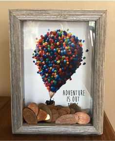 Smashed pennies shadow box-up movie inspired creative! Disney Diy, Casa Disney, Disney Home, Disney Crafts, Cute Crafts, Diy And Crafts, Crafts For Kids, Arts And Crafts, Smashed Pennies