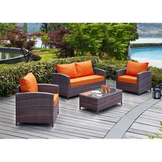Found it at AllModern - Petunia 4 Piece Deep Seating Group with Cushions