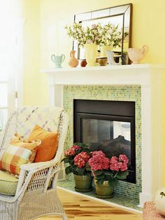 Gas Fireplace with Colorful Tile - ignore the fact that it's two sided and the colors, but I like the use of the tile here and the simple mantle a LOT!