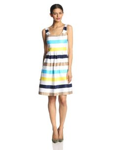 Nine West Women's Sleeveless Retro Stripe Dress, Shanti Blue Combo, 4 Nine West,http://www.amazon.com/dp/B00ITHEAXO/ref=cm_sw_r_pi_dp_8Y6Etb0V444E5S98
