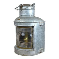 """Early century large marine hanging navigation lantern in galvanized metal with clear glass and marked """"Wilcox, Crittenden & Co. Old Lanterns, Kerosene Lamp, Galvanized Metal, Oil Lamps, Home Lighting, Clear Glass, Vintage Antiques, Candy, Products"""