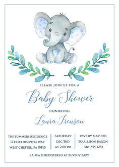 34 Ideas For Baby Shower Invitaciones Elefante Baby Invitations, Baby Shower Invitations For Boys, Baby Shower Games, Shower Baby, Baby Boys, Dibujos Baby Shower, Invitaciones Baby Shower Niña, Elephant Baby Boy, Baby Elefant