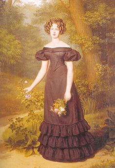 Princess Marianne Outdoors by anonymous, 1820's Companion to the last portrait of her indoors in a blue dress.
