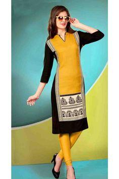 Buxom Yellow Cotton Readymade Kurti