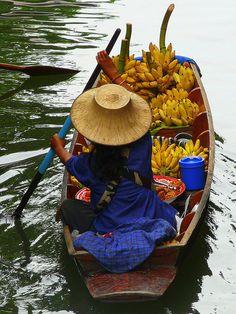 Banana Boat At Floating Market, Thailand.