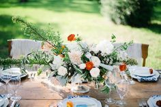 orange + white centerpiece | Sarah McKenzie #wedding