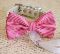 Pink Dog Bow Tie Dog ring bearer Pet Wedding by LADogStore on Etsy, $33.50