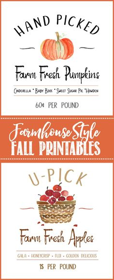 Farmhouse style free printables. These are so cute for any fall decor or fall craft projects.   #freeprintables #fallprintable #falldecor #falldecorating #fallcrafts #fallDIY