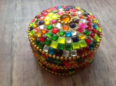 £4.00 Rainbow glass and metal pill box, handmade in India.  #Fairtrade #Rainbow #Glass # PillBox