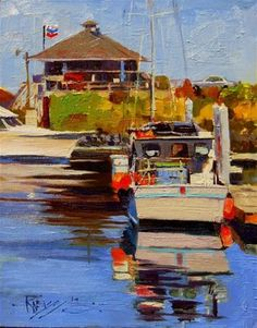"""Daily Paintworks - """"The Fuel Dock plein air marinescape by Robin Weiss"""" - Original Fine Art for Sale - © Robin Weiss"""
