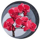 Hot Orchids 2 - Available in 4 different sizes, round ready to hang modern art from www.the-artwork-factory.com By The Artwork Factory.