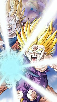 Father and son kamehameha! San Gohan, Goku And Gohan, Son Goku, Dragon Ball Gt, Anime Fr, Z Tattoo, Manga, Father And Son, Anime Characters