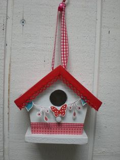 Red and White Bird House!