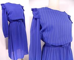 VINTAGE 70s Sheer Dress Sz S Fluid Secretary Dolly Ruffle Midi Pin Up Day Stripe