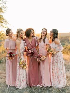 Bridal Style: Revelry's New, Dreamy Floral Print Bridesmaid Collection is Designed to Mix and Match Mixed Bridesmaid Dresses, Mix Match Bridesmaids, Bridesmaid Outfit, Wedding Bridesmaids, Floral Bridesmaids, Bohemian Bridesmaid, Blush Weddings, Boho Wedding, Wedding Blog
