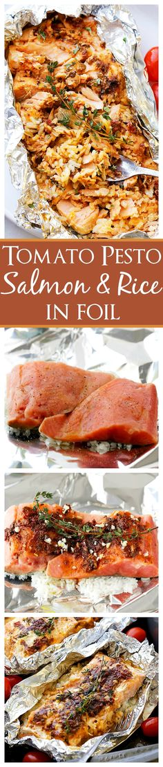 Tomato Pesto Salmon and Rice Recipe Baked in Foil - Incredibly flavorful, quick, 30-minute healthy dinner recipe with tomato pesto, salmon and rice baked in foil.
