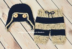 Crochet Baby Aviator Hat and Striped Pants by OhBabyBeaniesandBows