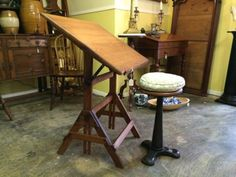 Drafting Table and Stool   $220  Butler Creek Antiques Dealer #8804  Lucas Street Antiques 2023 Lucas Dr. Dallas, TX 75219  Like us on Facebook: https://www.facebook.com/pages/Butler-Creek-
