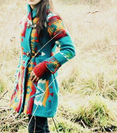 "Love this ""ranch"" jacket! Shawl Collar Navajo Pendleton Blanket Coat by CaptainCat on Etsy Estilo Tribal, Estilo Hippie, Fashion Moda, Look Fashion, Womens Fashion, Fashion Shoes, Girl Fashion, Mode Country, Ethno Style"