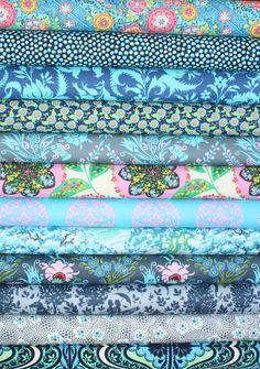 Beautiful Blue Fabric bundle by Amy Butler for Free Spirit Fabrics- Yard Bundle, 12 total