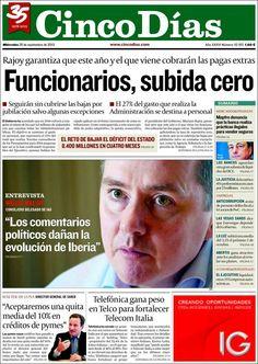 Los Titulares y Portadas de Noticias Destacadas Españolas del 25 de Septiembre de 2013 del Diario Cinco Días ¿Que le pareció esta Portada de este Diario Español?