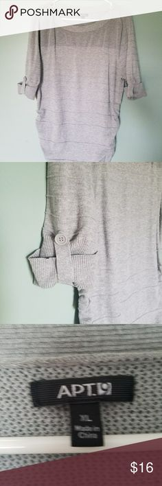 Apt9 Womens short sleeve top Grey women's top. Size extra large, brand Apt 9, excellent used condition, rushing on the side for extra flatter, cute design of buttons on the sleeves. apt 9 Tops Blouses