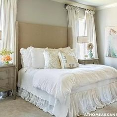 Wingback Headboard with Nailhead Trim, Transitional, bedroom, At Home in Arkansas