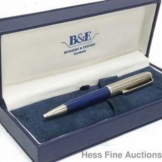 Bossert Erhard Sterling Silver Blue Enamel Numbered Ballpoint Pen Box Papers CNX #BossertErhard