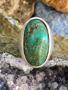 Natural Turquoise Ring in Sterling Silver Size: 8 1/2