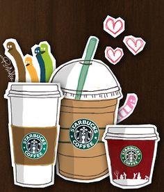 Fan Art of Starbucks Cartoon for fans of Starbucks 3208016 Starbucks Coffee, Starbucks Art, I Love Coffee, Coffee Art, My Coffee, Coffee Break, Starbucks Wallpaper, Latte, Peace And Love
