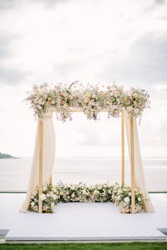 Mesmerizing Phuket Wedding with Soft Pastels How unreal is Thailand for a destination wedding location? We are sharing all the pastel beauty from this Phuket ceremony overlooking the ocean, with. Wedding Ceremony Ideas, Beach Wedding Decorations, Ceremony Backdrop, Beach Weddings, Wedding Ceremonies, Backdrop Wedding, Wedding Centerpieces, Backdrop Decor, Wedding Aisles