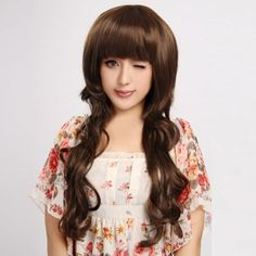 Capless Long Curly Brown High Quality Synthetic Wig Full Bang