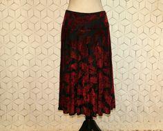 Burnout Velvet Skirt Red Black Midi Skirt Medium by MagpieandOtis