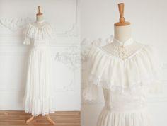 ●原創定制●靜謐の少女—vintage複古宮廷白色蕾絲連衣裙長裙●-淘寶網