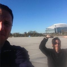#takeover2sday final post: shout out to my @fox2now @kplr11 brother; one of my best friends maybe the best news photographer ever an even better husband & dad: @jondavisstlmo (the guy holding up Jerry World in the photo) He's having a little procedure tomorrow. if you want to try that prayer thing send one his way. #youremyboyblue !! Thanks so much for hanging with me today! Peace Andy B. @andybankertv