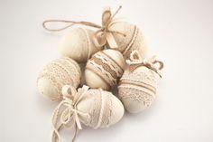 Set of Six Easter Eggs, Decorative Wooden Eggs, Cottage Chic Decor, Pastel Color Home Decor
