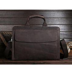 ROCKCOW Genuine Leather Mens Briefcase Laptop Bags Men's Travel Bag Cowhide Men Shoulder Bags Business...