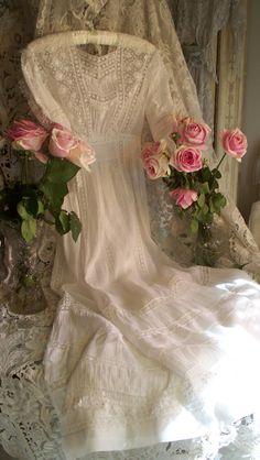 Antique Victorian Heirloom Sewn Wedding Dress Circa 1899