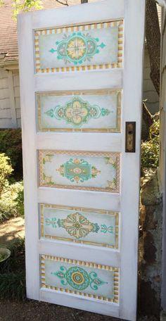 hand painted five panel antique  interior door. so cool!