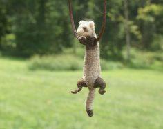 Tiny Ferret Necklace - needle felted