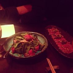 Under the dim lights, our Beef Tataki & Duck #Salad looking #yummy! Thanks Amber for posting this pic on Instagram! (^_−)☆