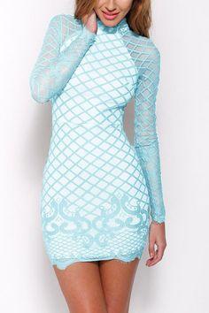 d0d5dea9f6b8 2017 New Fashion Bodycon Women Lace Dress Slash Turtleneck Evening Mini Dress  Blue White Long Sleeve High Neck Zipper Dresses