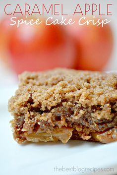 This Caramel Apple Spice Cake Crisp is so easy to make and it's done in just 2 1/2 hours. Break out the vanilla ice cream and get ready because this is that good!