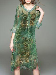 V Neck H-line 3/4 Sleeve Vintage Two Piece Midi Dress