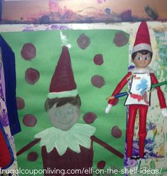 Dozens of Easy The Elf on The Shelf Ideas –  Elf Paints a Self-Portrait (Selfie) #elfontheshelf #elfontheshelfideas