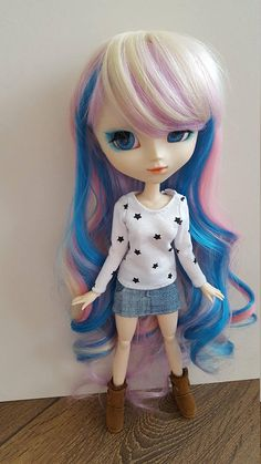 White starry long sleeved T-Shirt for Pullip doll