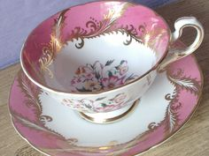 Antique Paragon bone china tea cup set, vintage pink and gold tea cup, English…