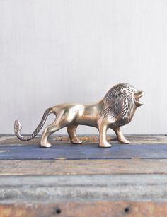 "Vintage Brass Male Lion Figurine - 6.75"" gold metal wild animal figure - safari home decor by CuriosityCabinet on Etsy"