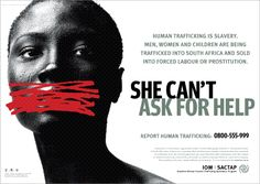 An advertisement that seeks to bring to light to prominence of human trafficking of men, women and children into South Africa. It is an ad that is trying to urge people to report having seen this kind of activity.