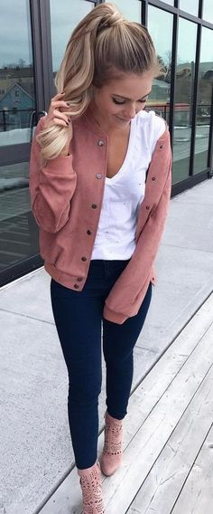 summer outfits Pink Bomber Jacket + White Tee + Black Skinny Jeans